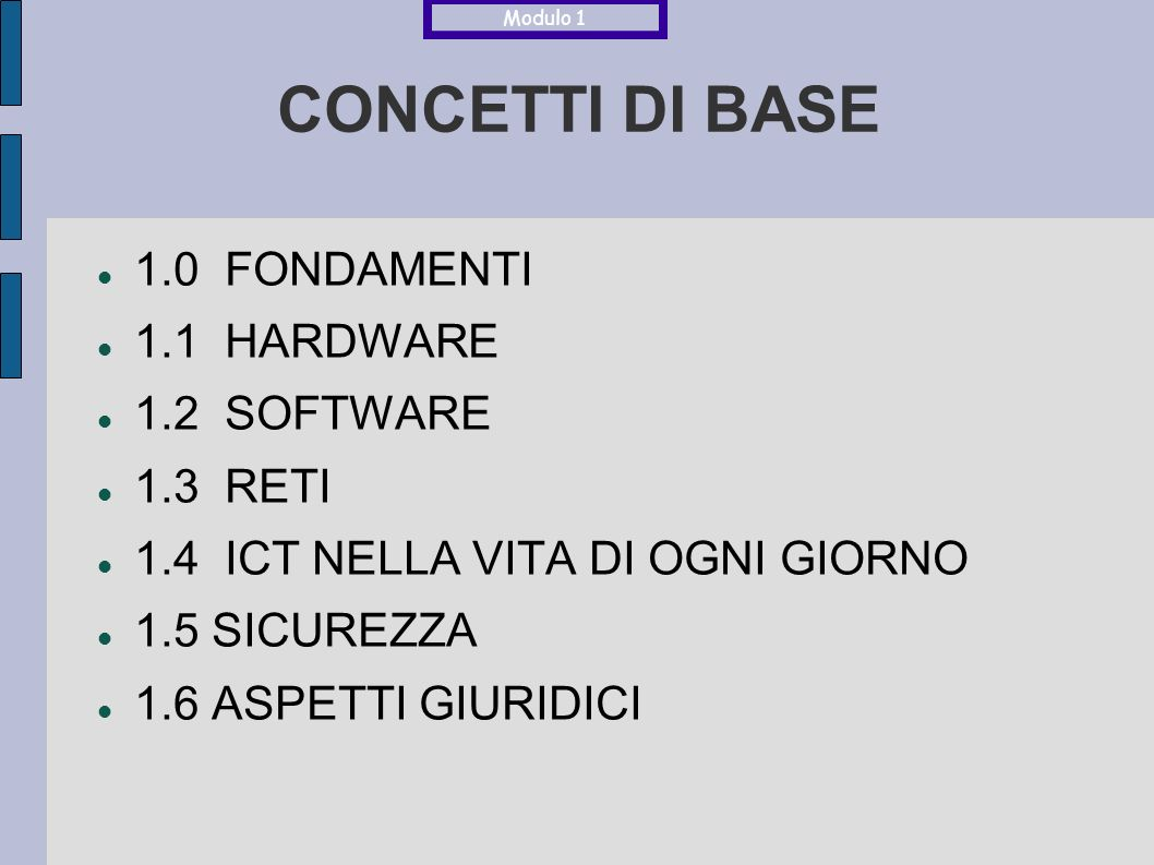 CONCETTI DI BASE 1.0 FONDAMENTI 1.1 HARDWARE 1.2 SOFTWARE 1.3 RETI