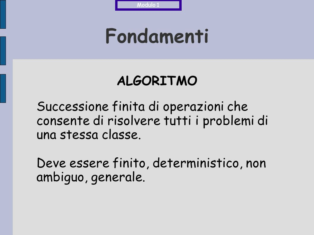 Modulo 1 Fondamenti. ALGORITMO. Successione finita di operazioni che consente di risolvere tutti i problemi di una stessa classe.