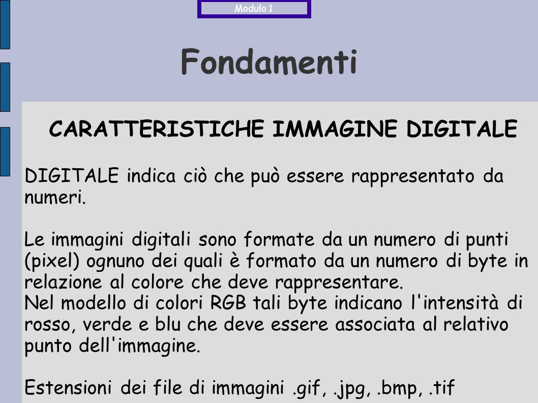 CARATTERISTICHE IMMAGINE DIGITALE