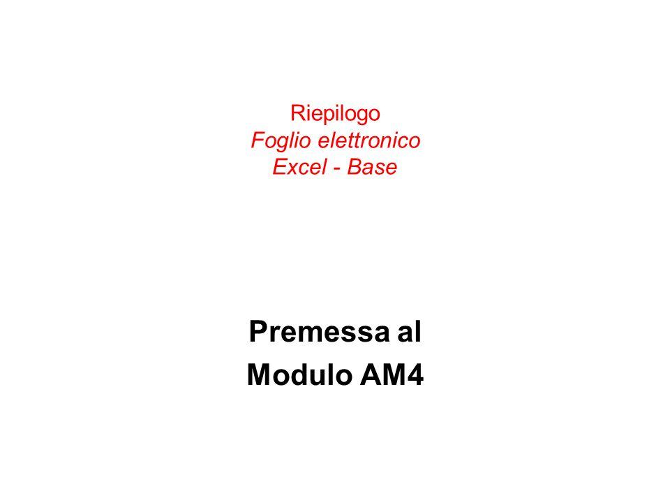 Riepilogo Foglio elettronico Excel - Base