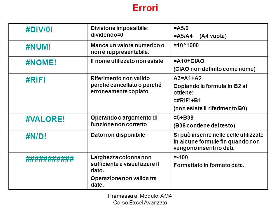 Premessa al Modulo AM4 Corso Excel Avanzato