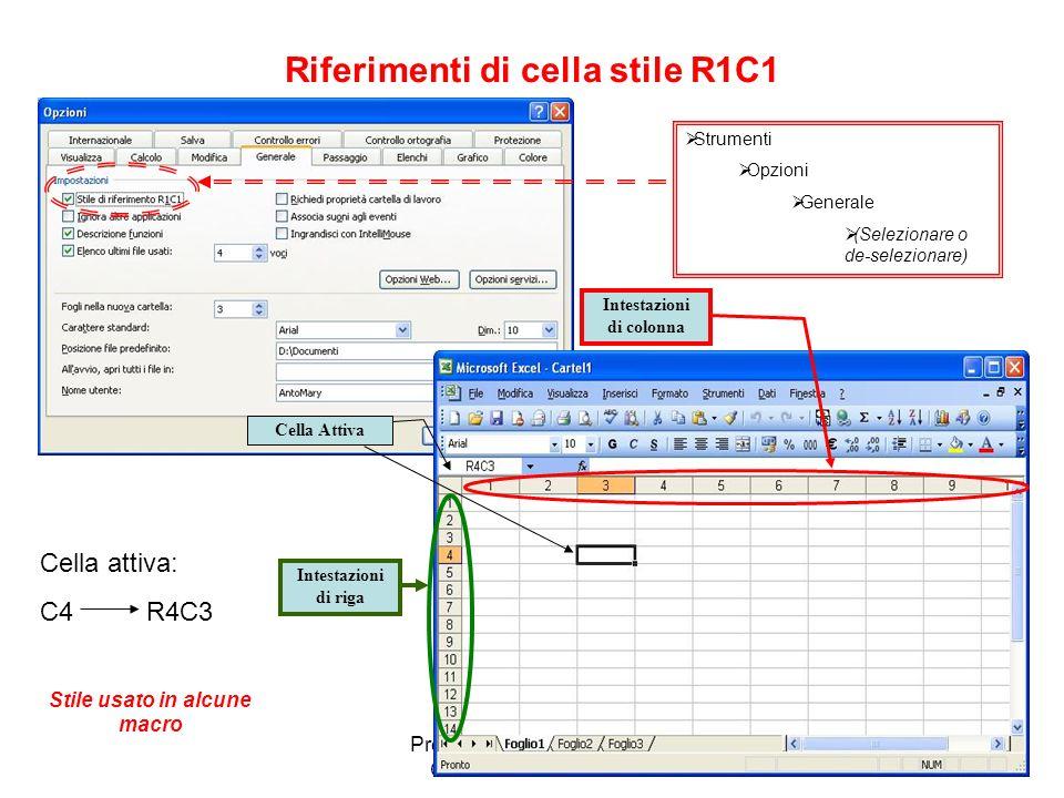 Riferimenti di cella stile R1C1