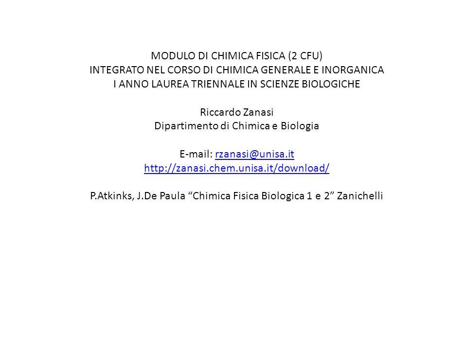 MODULO DI CHIMICA FISICA (2 CFU)