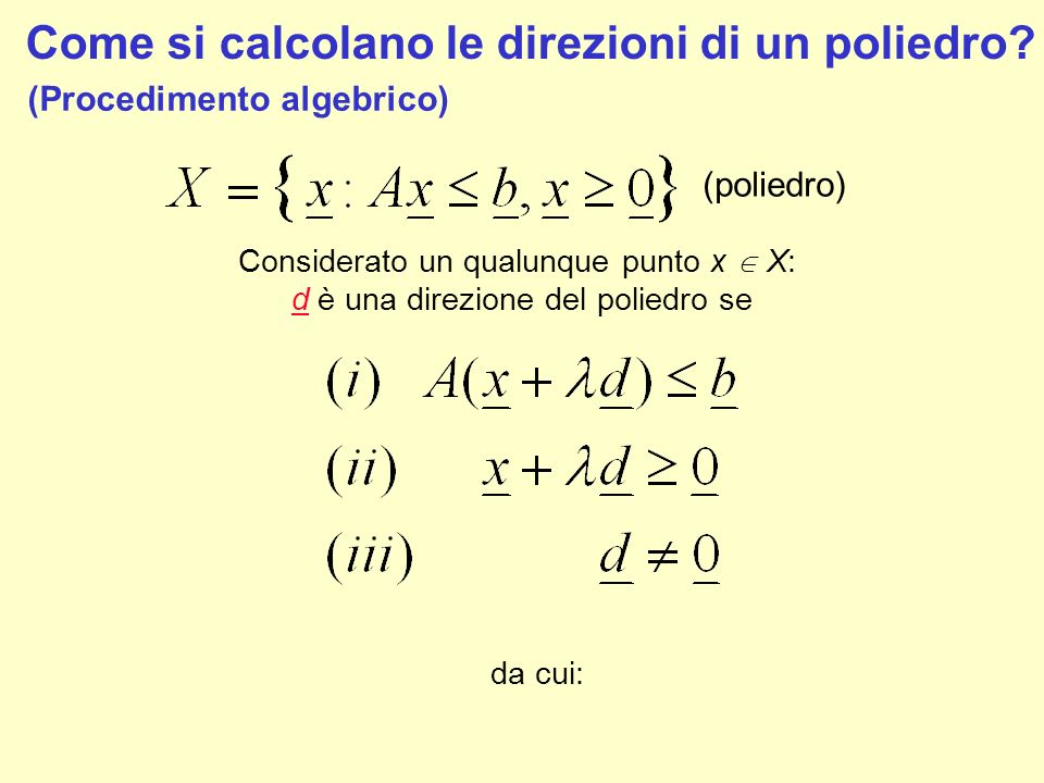 Come si calcolano le direzioni di un poliedro