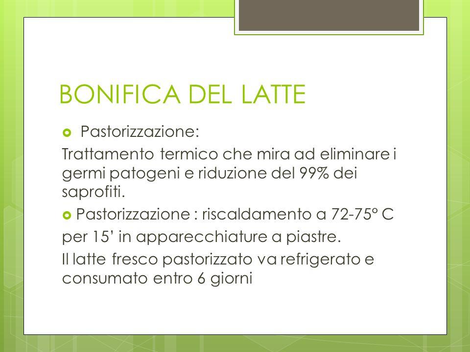 BONIFICA DEL LATTE Pastorizzazione: