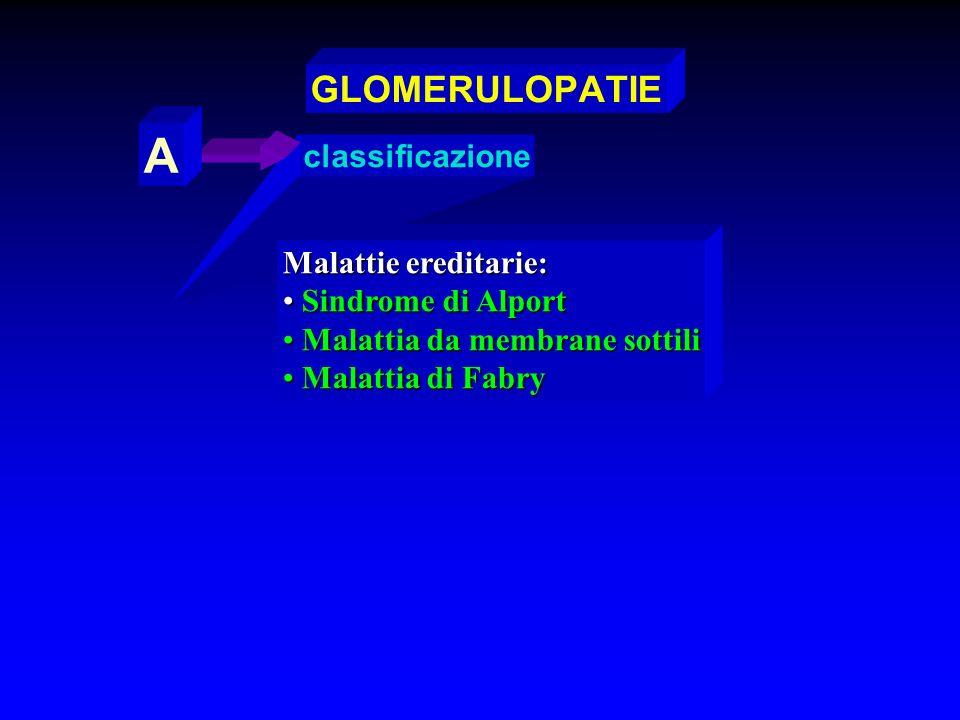 A GLOMERULOPATIE classificazione Malattie ereditarie: