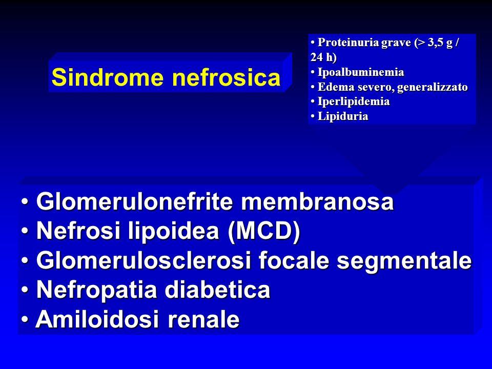 Glomerulonefrite membranosa Nefrosi lipoidea (MCD)