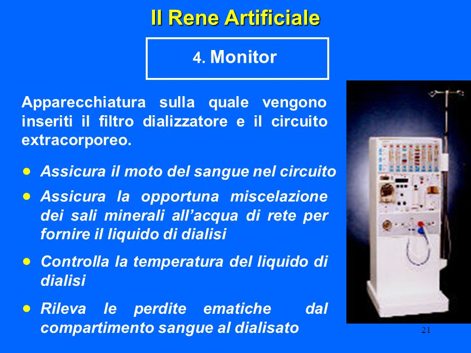 • • • • Il Rene Artificiale 4. Monitor