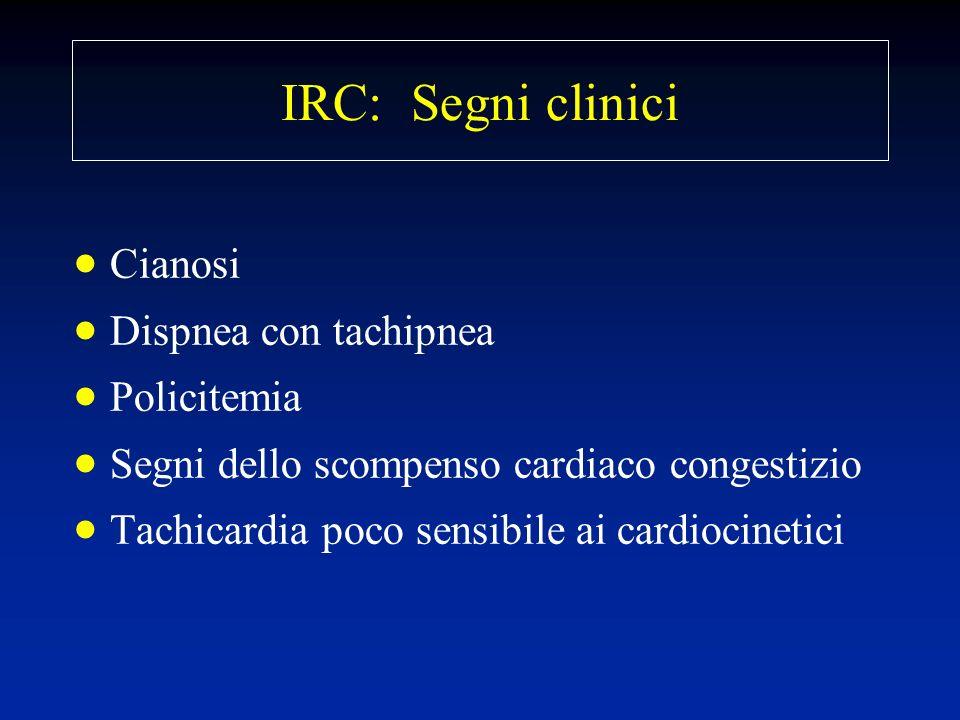 IRC: Segni clinici Cianosi Dispnea con tachipnea Policitemia