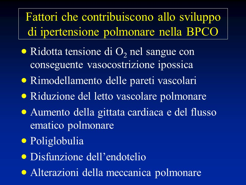 Fattori che contribuiscono allo sviluppo di ipertensione polmonare nella BPCO