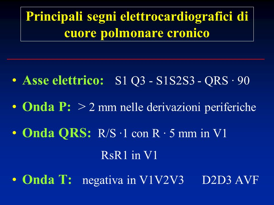 Principali segni elettrocardiografici di cuore polmonare cronico