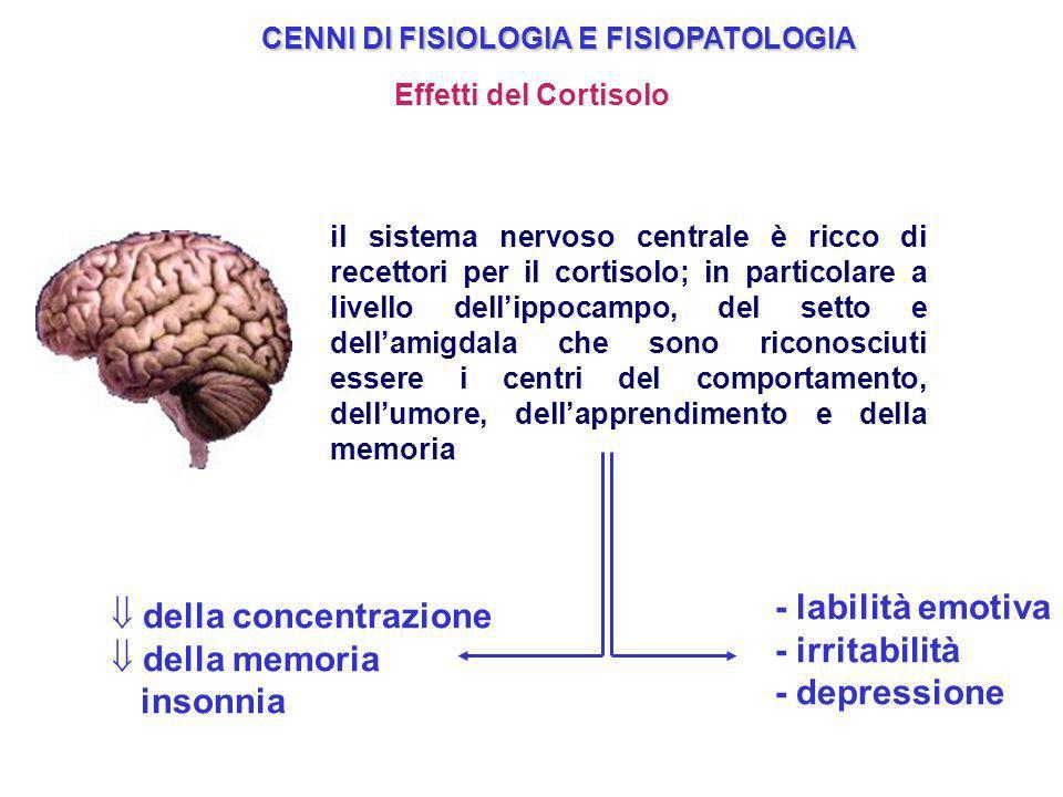- labilità emotiva della concentrazione - irritabilità della memoria