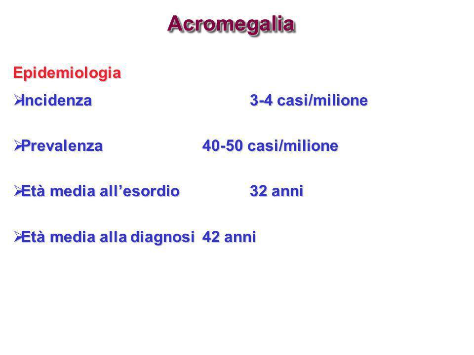 Acromegalia Epidemiologia Incidenza 3-4 casi/milione