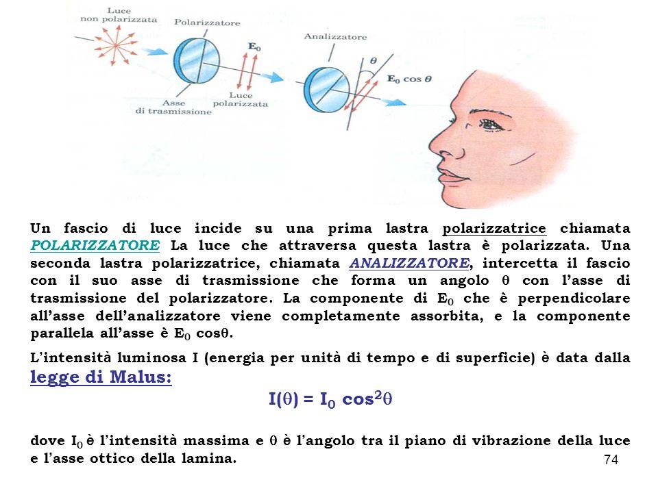 Un fascio di luce incide su una prima lastra polarizzatrice chiamata POLARIZZATORE La luce che attraversa questa lastra è polarizzata. Una seconda lastra polarizzatrice, chiamata ANALIZZATORE, intercetta il fascio con il suo asse di trasmissione che forma un angolo  con l'asse di trasmissione del polarizzatore. La componente di E0 che è perpendicolare all'asse dell'analizzatore viene completamente assorbita, e la componente parallela all'asse è E0 cos.
