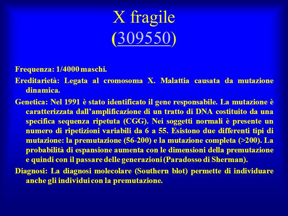 X fragile (309550) Frequenza: 1/4000 maschi.