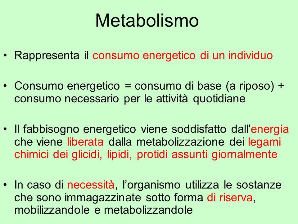 Metabolismo Rappresenta il consumo energetico di un individuo