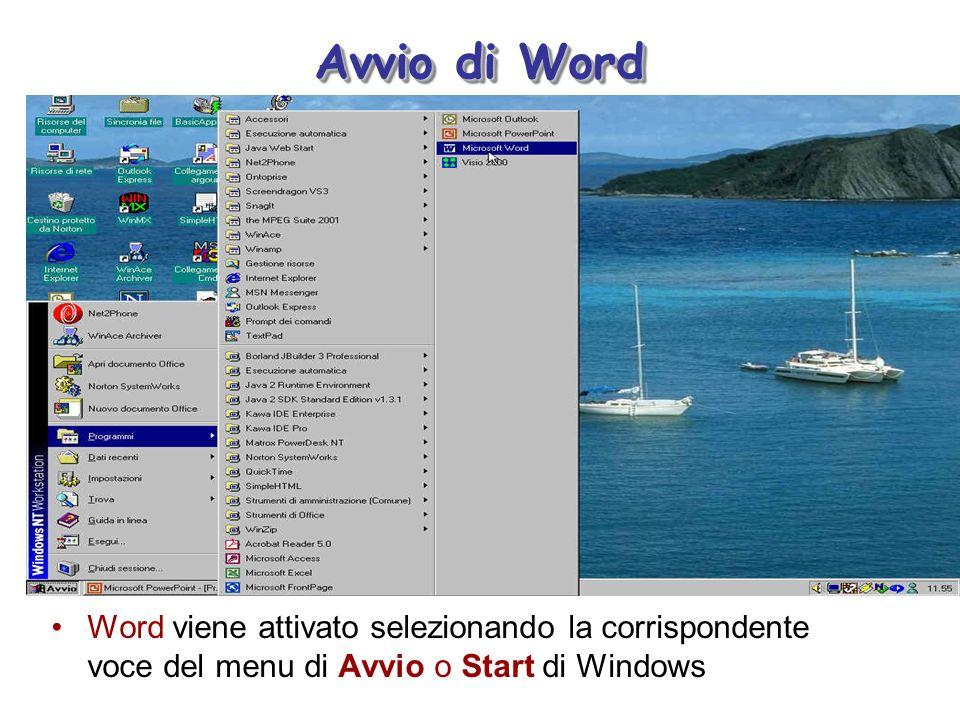 Avvio di Word Word viene attivato selezionando la corrispondente voce del menu di Avvio o Start di Windows.