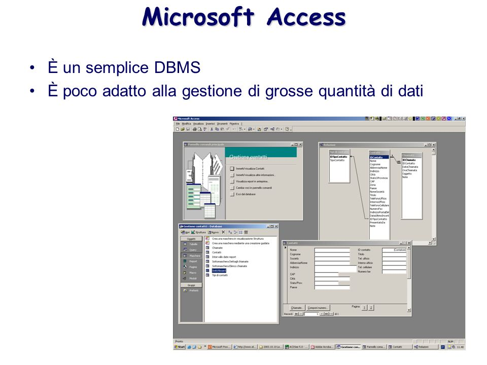 Microsoft Access È un semplice DBMS