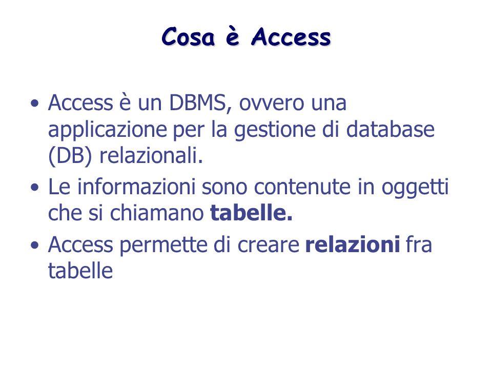Cosa è Access Access è un DBMS, ovvero una applicazione per la gestione di database (DB) relazionali.