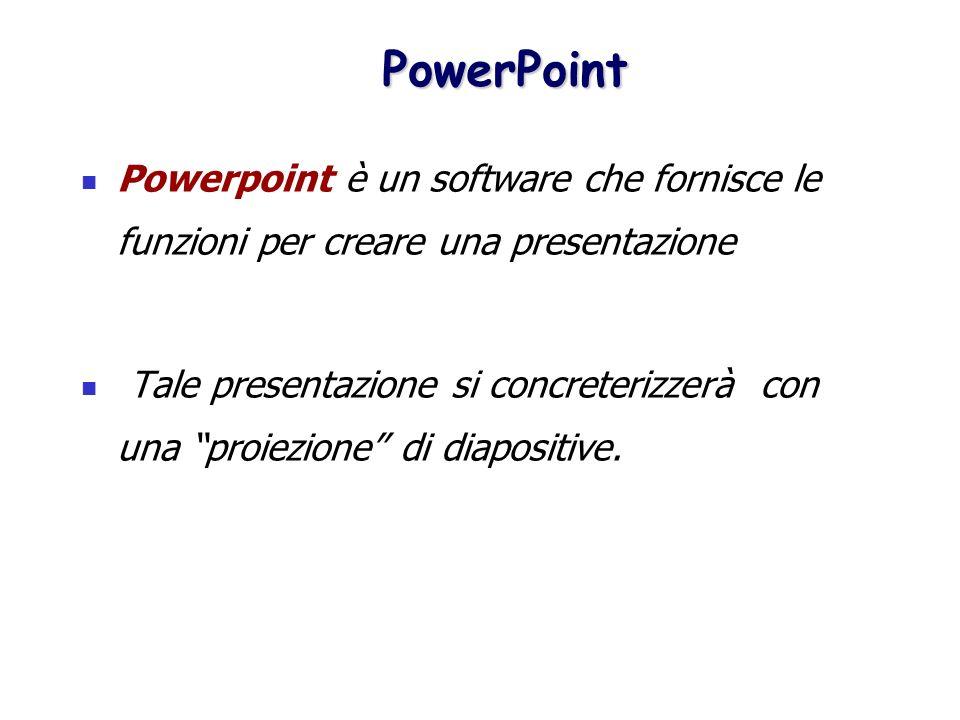 PowerPoint Powerpoint è un software che fornisce le funzioni per creare una presentazione.