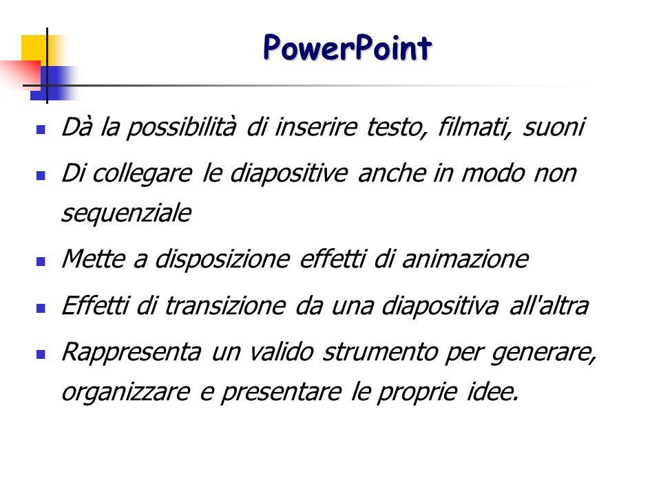 PowerPoint Dà la possibilità di inserire testo, filmati, suoni