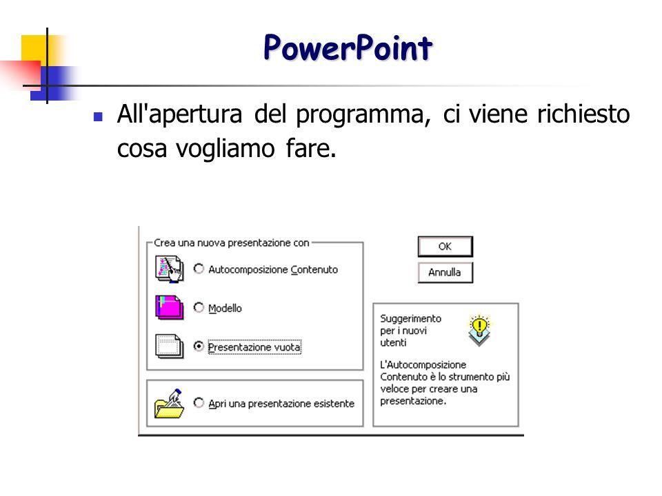 PowerPoint All apertura del programma, ci viene richiesto cosa vogliamo fare.
