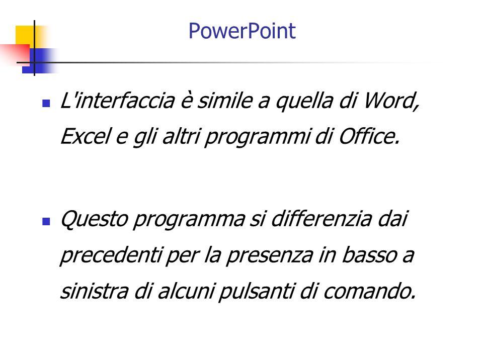 PowerPoint L interfaccia è simile a quella di Word, Excel e gli altri programmi di Office.