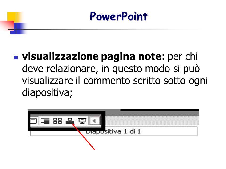 PowerPoint visualizzazione pagina note: per chi deve relazionare, in questo modo si può visualizzare il commento scritto sotto ogni diapositiva;