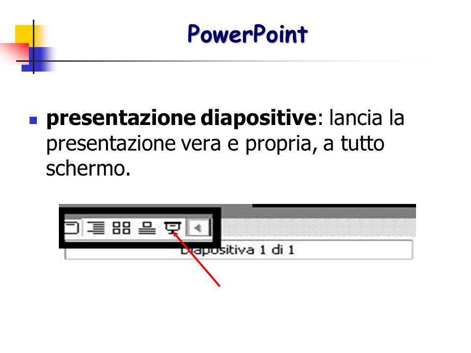 PowerPoint presentazione diapositive: lancia la presentazione vera e propria, a tutto schermo.