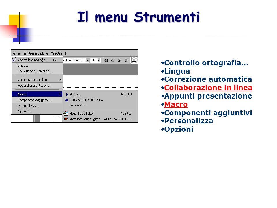 Il menu Strumenti Controllo ortografia… Lingua Correzione automatica