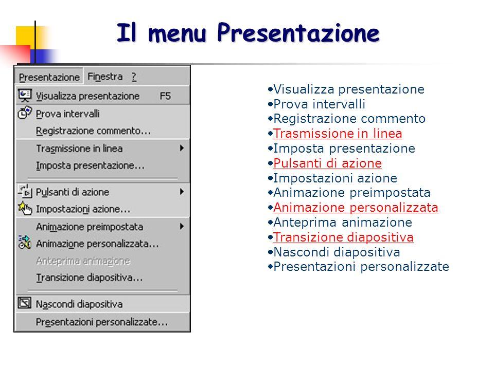 Il menu Presentazione Visualizza presentazione Prova intervalli