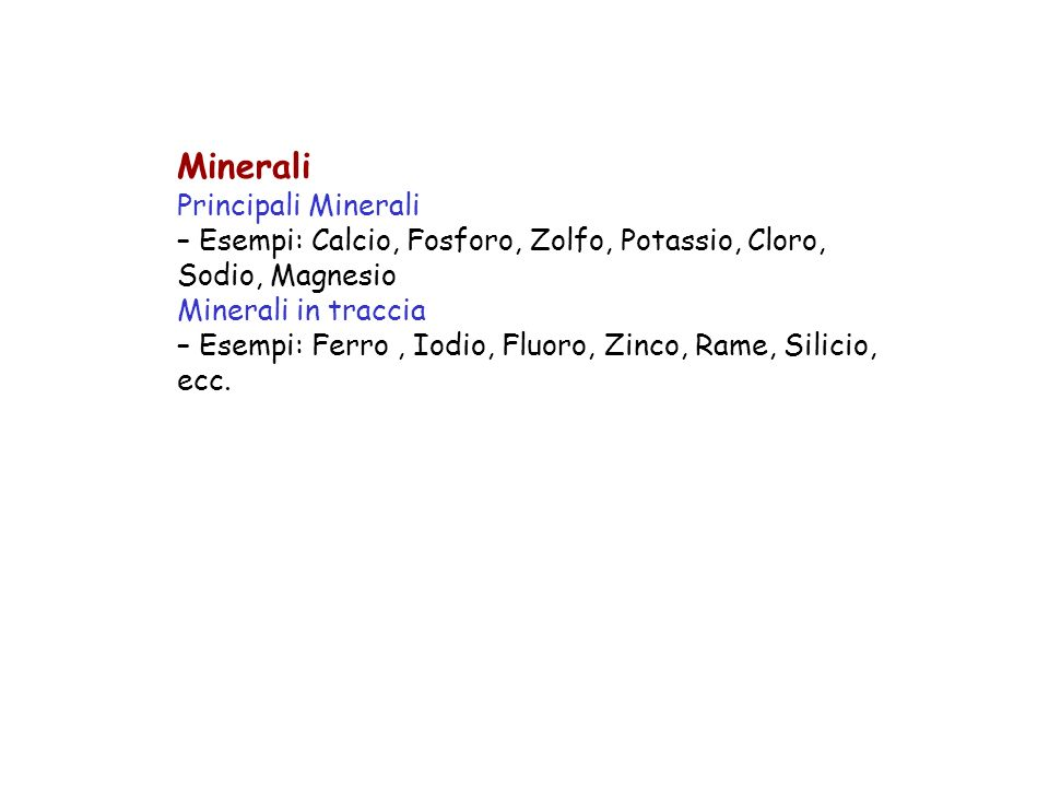 Minerali Principali Minerali