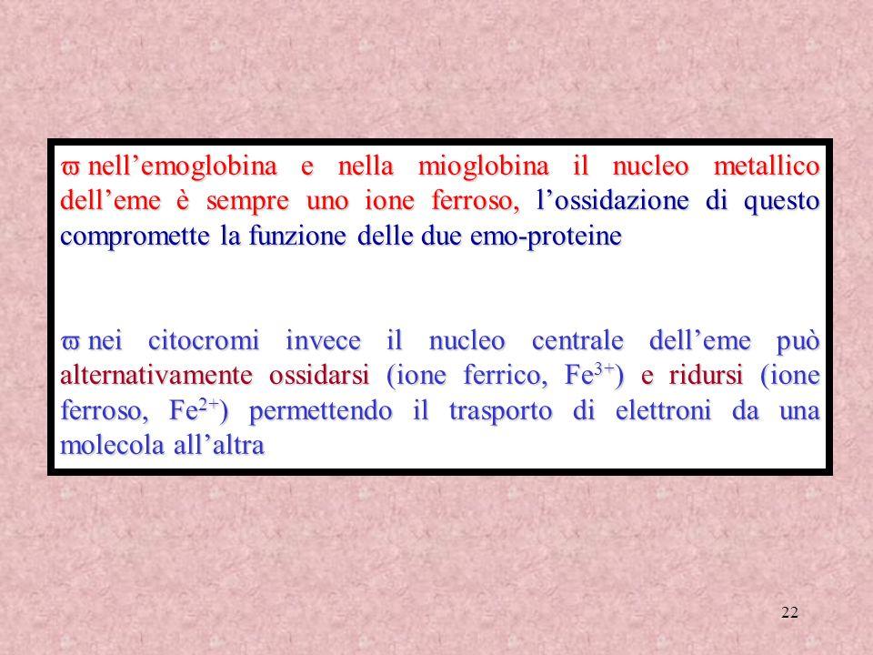 nell'emoglobina e nella mioglobina il nucleo metallico dell'eme è sempre uno ione ferroso, l'ossidazione di questo compromette la funzione delle due emo-proteine