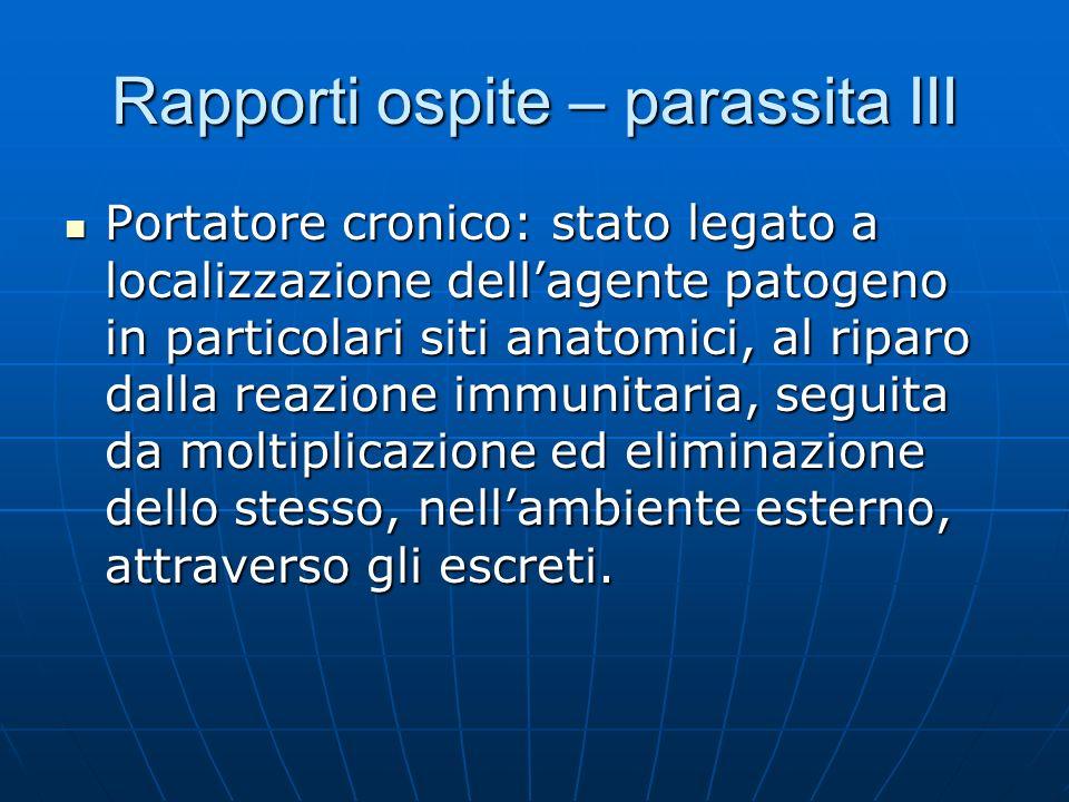 Rapporti ospite – parassita III