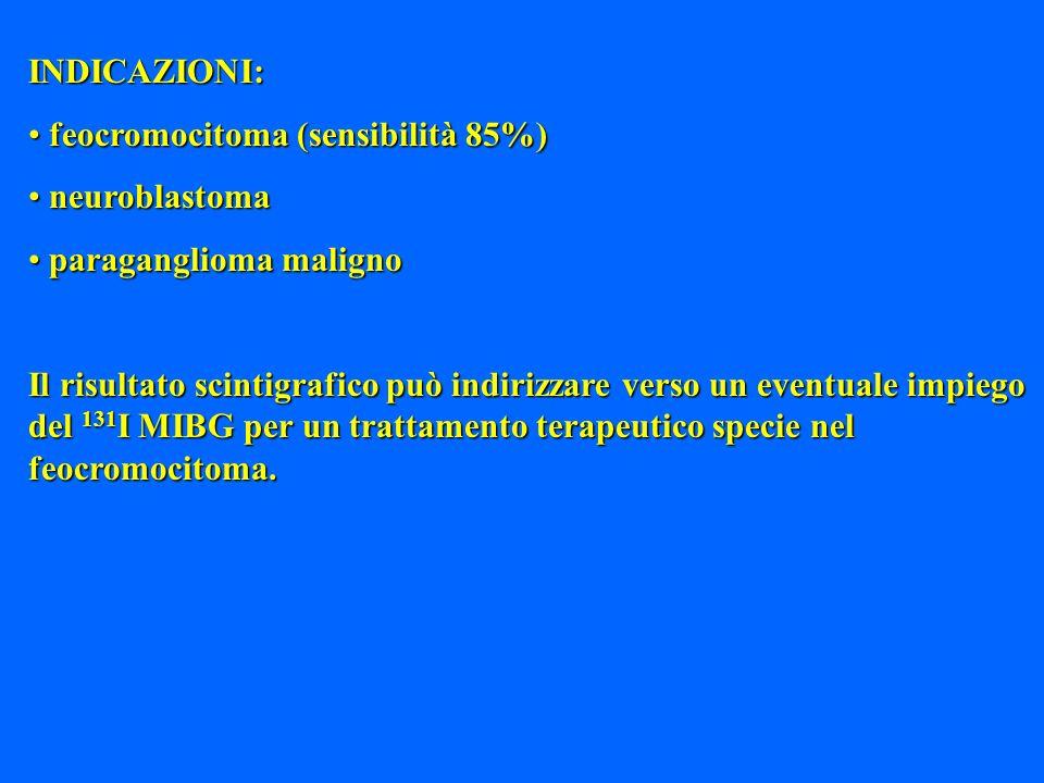 INDICAZIONI: feocromocitoma (sensibilità 85%) neuroblastoma. paraganglioma maligno.