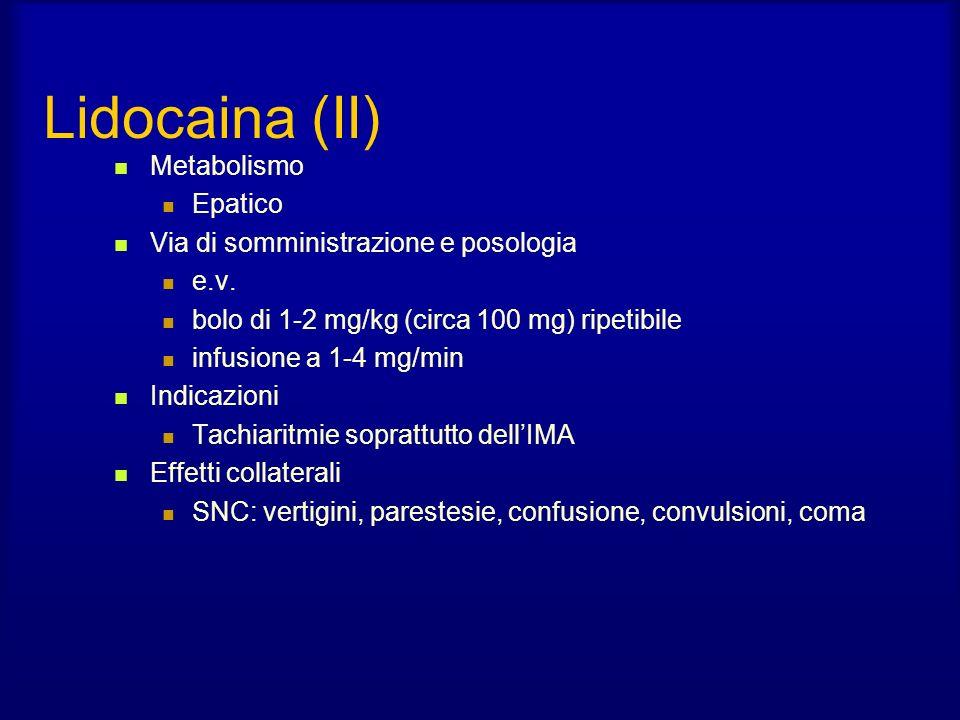 Lidocaina (II) Metabolismo Epatico Via di somministrazione e posologia