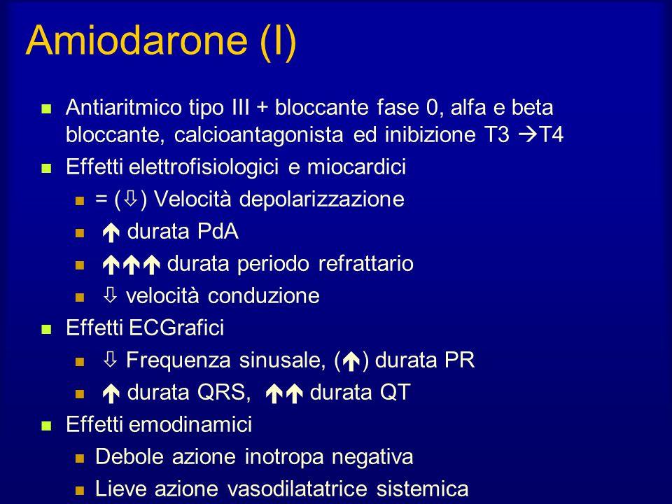 Amiodarone (I) Antiaritmico tipo III + bloccante fase 0, alfa e beta bloccante, calcioantagonista ed inibizione T3 T4.