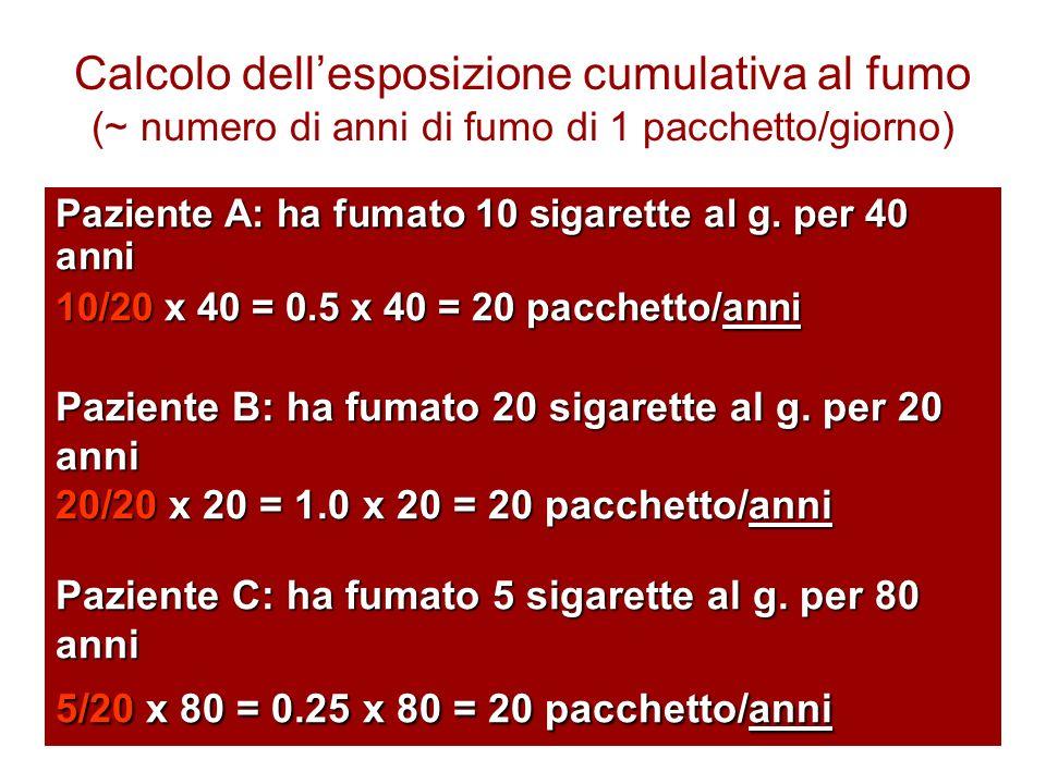 Calcolo dell'esposizione cumulativa al fumo (~ numero di anni di fumo di 1 pacchetto/giorno)
