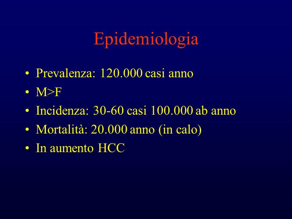 Epidemiologia Prevalenza: 120.000 casi anno M>F
