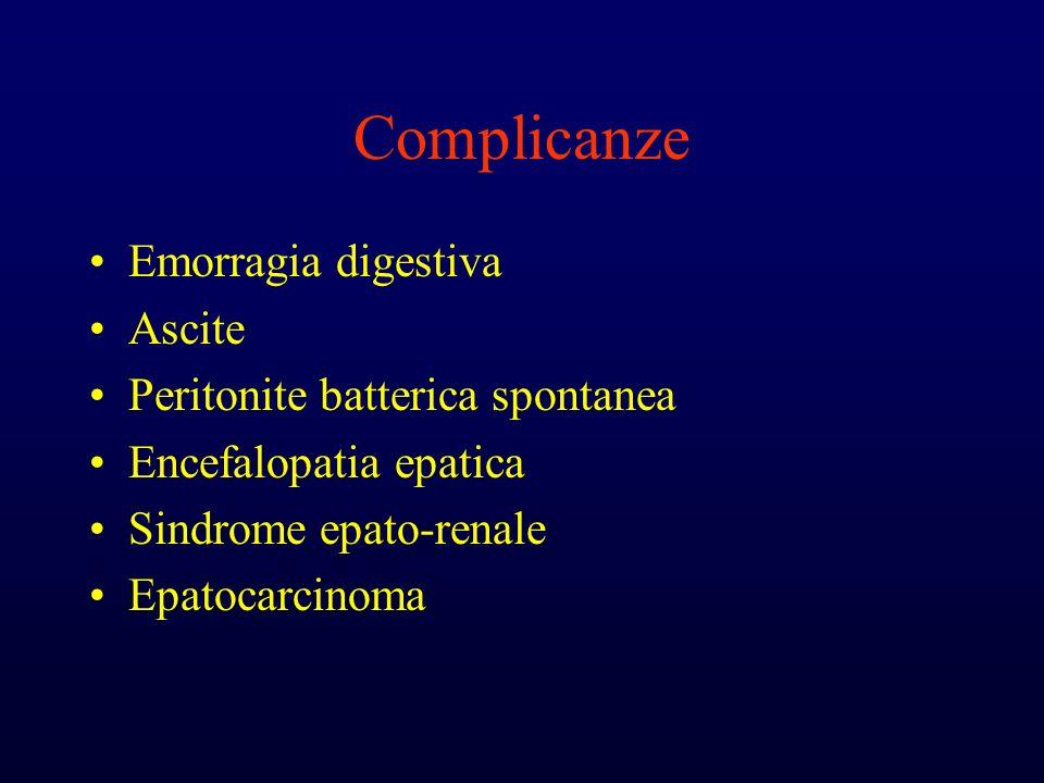 Complicanze Emorragia digestiva Ascite Peritonite batterica spontanea