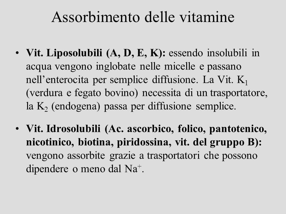 Assorbimento delle vitamine