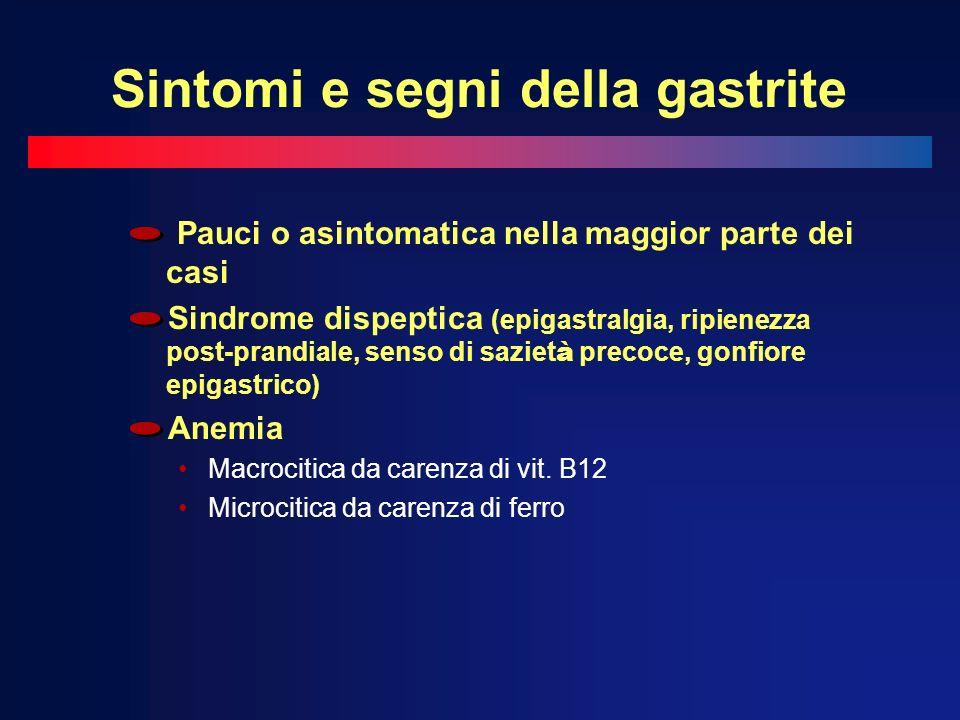 Sintomi e segni della gastrite