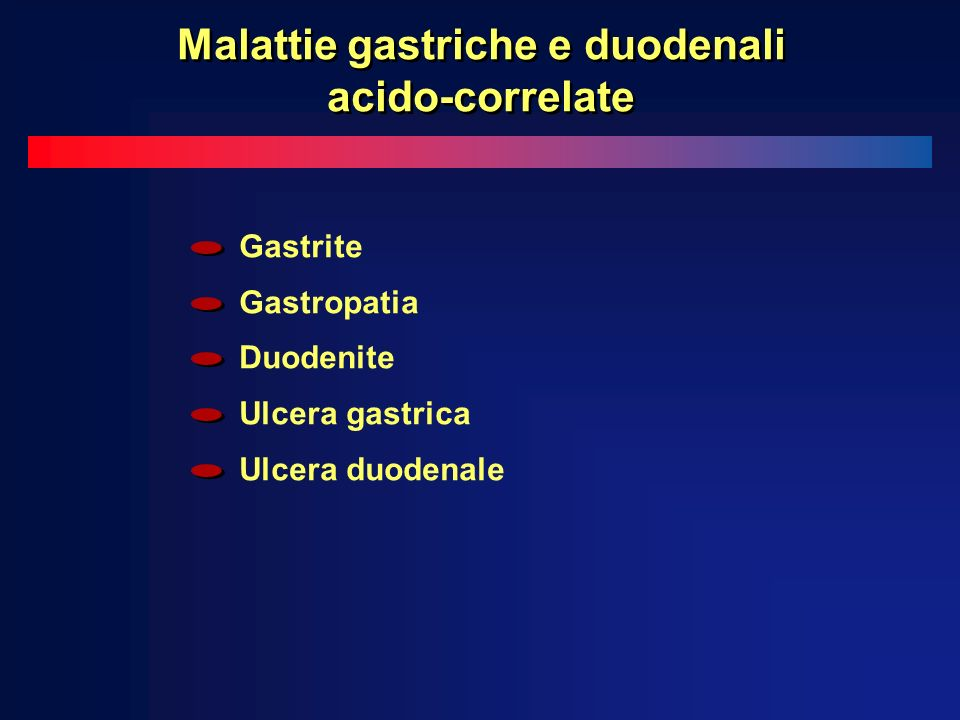 Malattie gastriche e duodenali acido-correlate