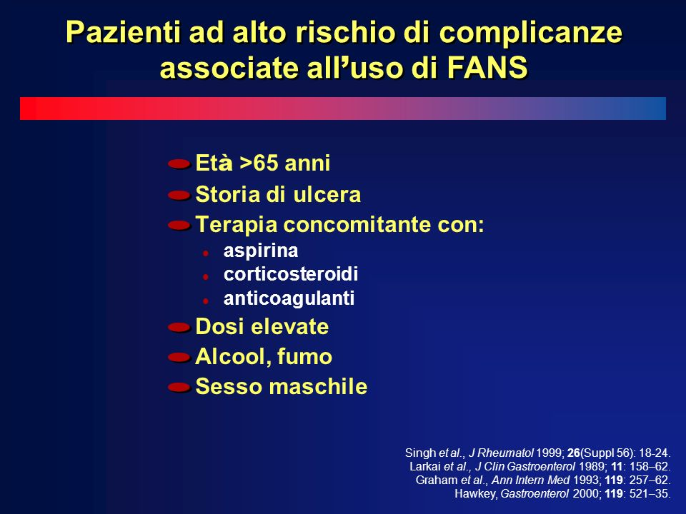 Pazienti ad alto rischio di complicanze associate all'uso di FANS