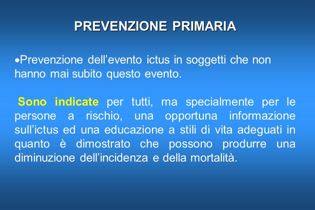 PREVENZIONE PRIMARIA Prevenzione dell'evento ictus in soggetti che non hanno mai subito questo evento.