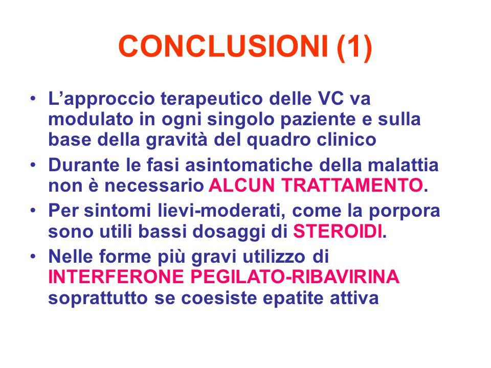CONCLUSIONI (1) L'approccio terapeutico delle VC va modulato in ogni singolo paziente e sulla base della gravità del quadro clinico.