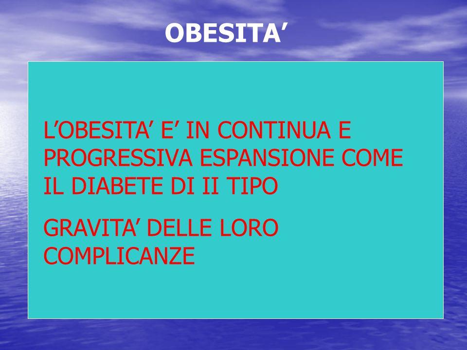 OBESITA' L'OBESITA' E' IN CONTINUA E PROGRESSIVA ESPANSIONE COME IL DIABETE DI II TIPO.