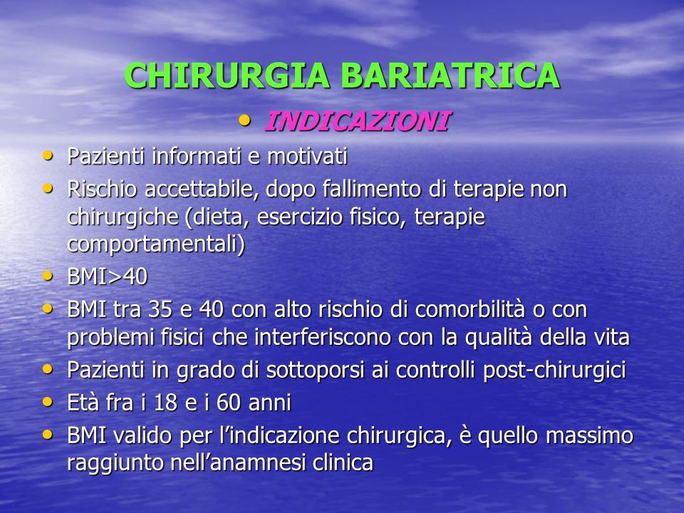CHIRURGIA BARIATRICA INDICAZIONI Pazienti informati e motivati