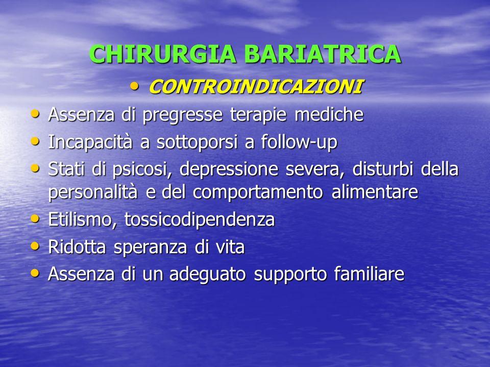 CHIRURGIA BARIATRICA CONTROINDICAZIONI