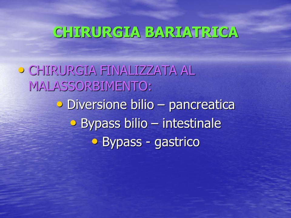 CHIRURGIA BARIATRICA CHIRURGIA FINALIZZATA AL MALASSORBIMENTO: